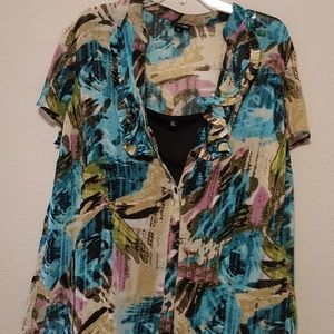 East 5th Tropical Button Down Sheer Blouse